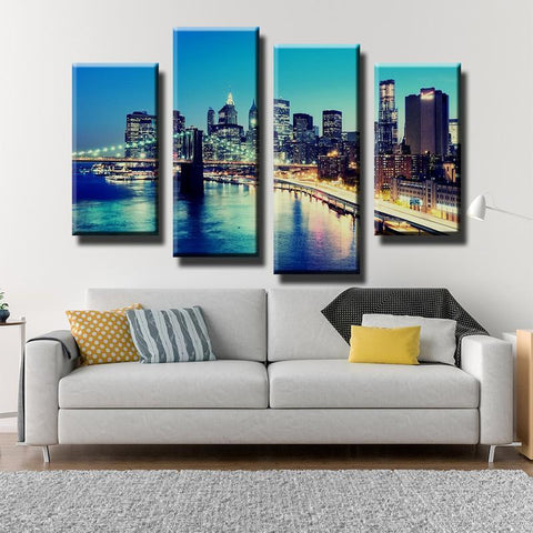 Image of New Day Stock Medium / 4 Pieces / Framed Brooklyn Bridge Multi Panel Canvas Set