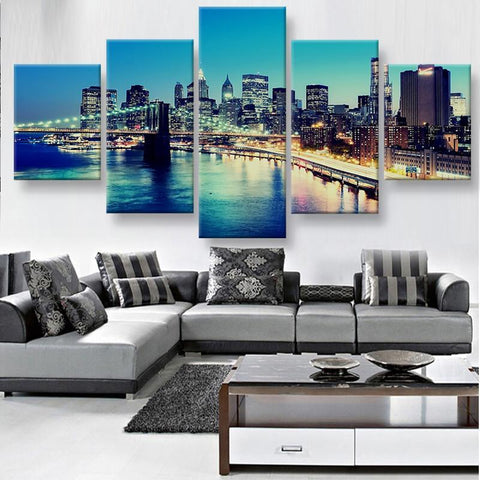 Image of New Day Stock Medium / 5 Pieces / Framed Brooklyn Bridge Multi Panel Canvas Set