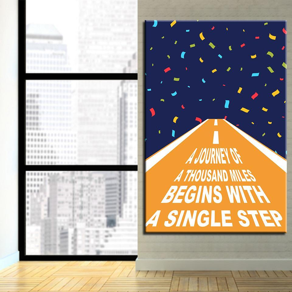 New Day Stock Medium / Blue / No Frame A Journey Of A Thousand Miles Begins With A Single Step