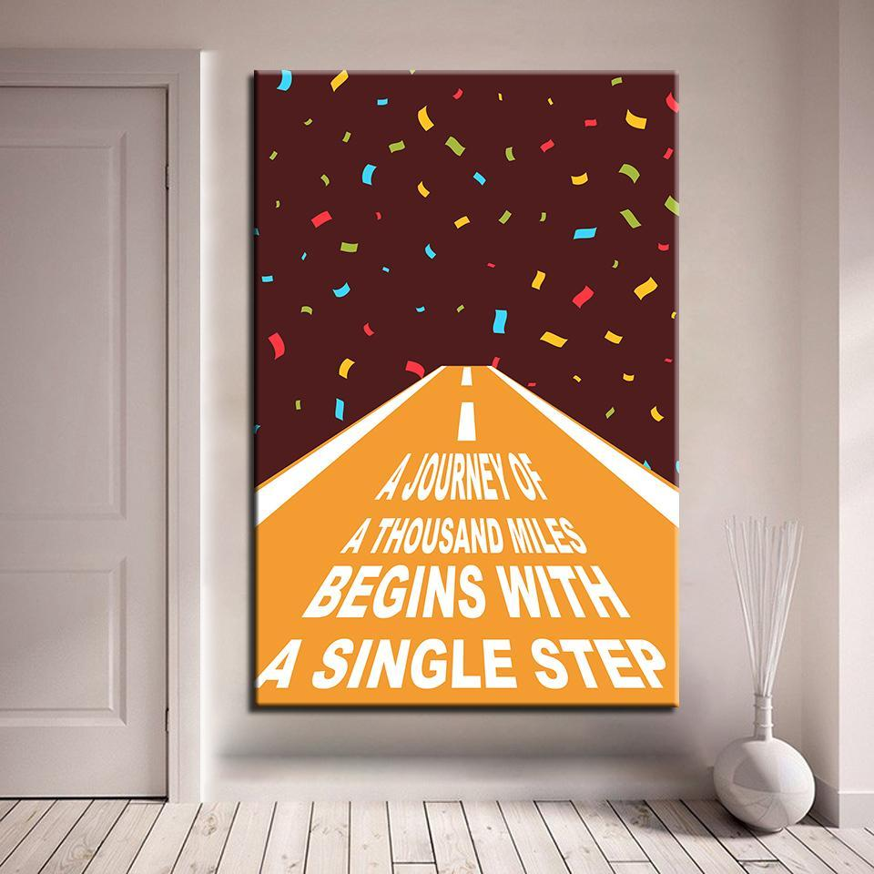 New Day Stock Medium / Brown / No Frame A Journey Of A Thousand Miles Begins With A Single Step