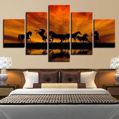 Image of New Day Stock Store Canvas Paintings Amazing Horses 5 Piece Canvas Set