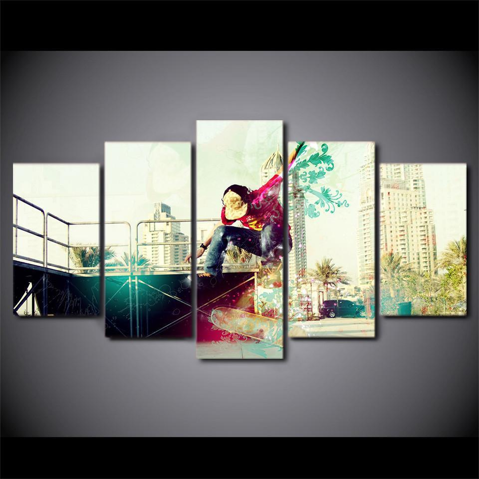New Day Stock Store Canvas Paintings Artistic Skateboarding 5 Piece Canvas Set