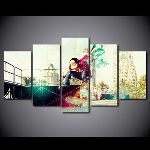 Image of New Day Stock Store Canvas Paintings Artistic Skateboarding 5 Piece Canvas Set