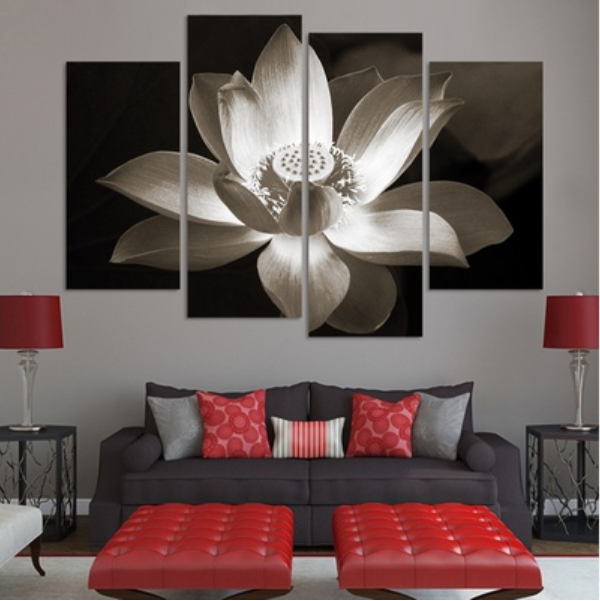 New Day Stock Store Canvas Paintings Black And White Lotus Flower 4 Piece Canvas Set