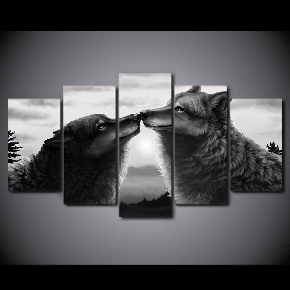 New Day Stock Store Canvas Paintings Black Couple Wolf 5 Piece Canvas Set