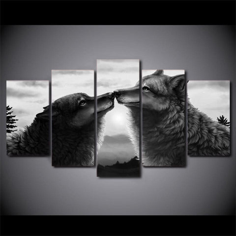 Image of New Day Stock Store Canvas Paintings Black Couple Wolf 5 Piece Canvas Set