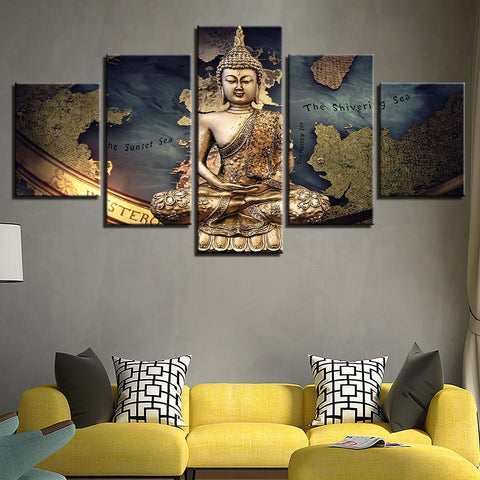 New Day Stock Store Canvas Paintings Buddha Abstract 5 Piece Canvas Set