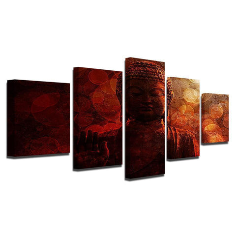 Image of New Day Stock Store Canvas Paintings Buddha Circles 5 Piece Canvas Set