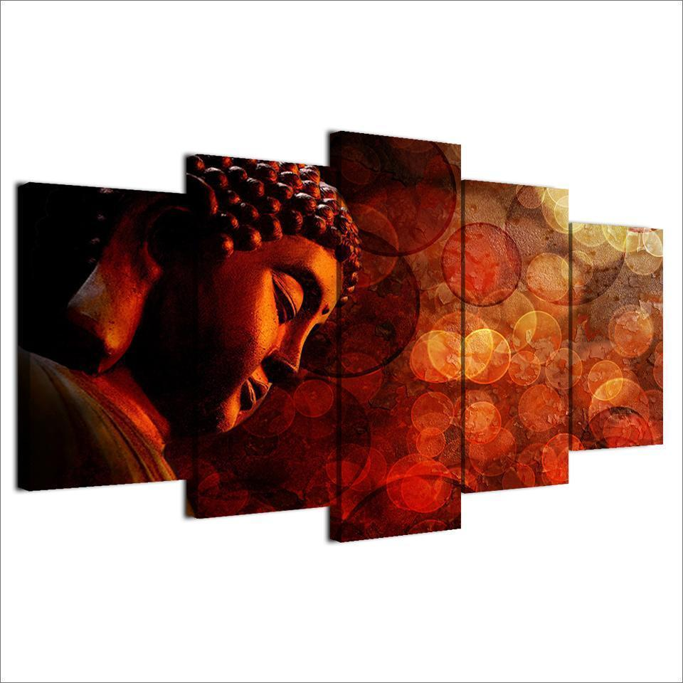 New Day Stock Store Canvas Paintings Buddha Enlightenment 5 Piece Canvas Set