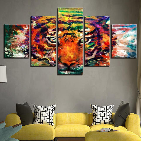 Image of New Day Stock Store Canvas Paintings Colorful Tiger 5 Piece Canvas Set