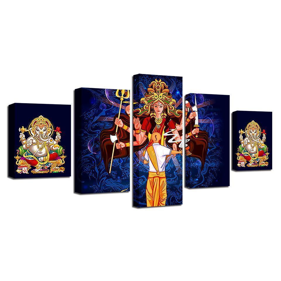 New Day Stock Store Canvas Paintings Durga & Ganesha 5 Piece Canvas Set