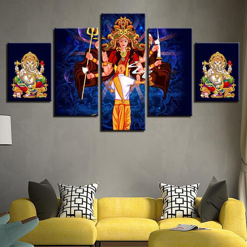 Image of New Day Stock Store Canvas Paintings Durga & Ganesha 5 Piece Canvas Set