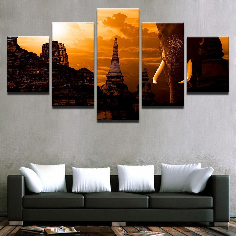 New Day Stock Store Canvas Paintings Elephant Temple 5 Piece Canvas Set