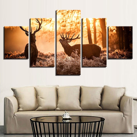Image of New Day Stock Store Canvas Paintings Elk In The Forest  5 Piece Canvas Set