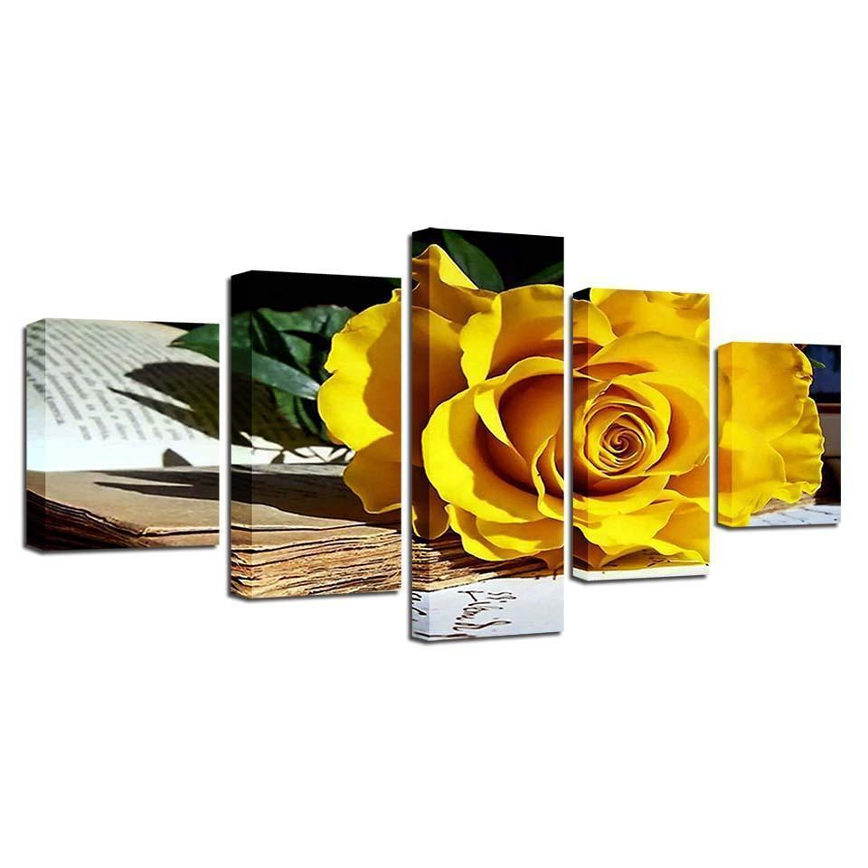 New Day Stock Store Canvas Paintings Flower Studies 5 Piece Canvas Set