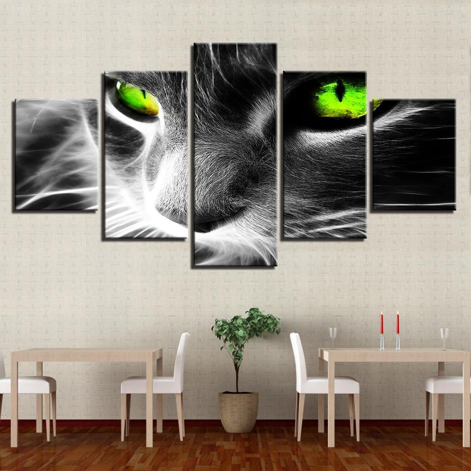 New Day Stock Store Canvas Paintings Green Eyes Cat 5 Piece Canvas Set