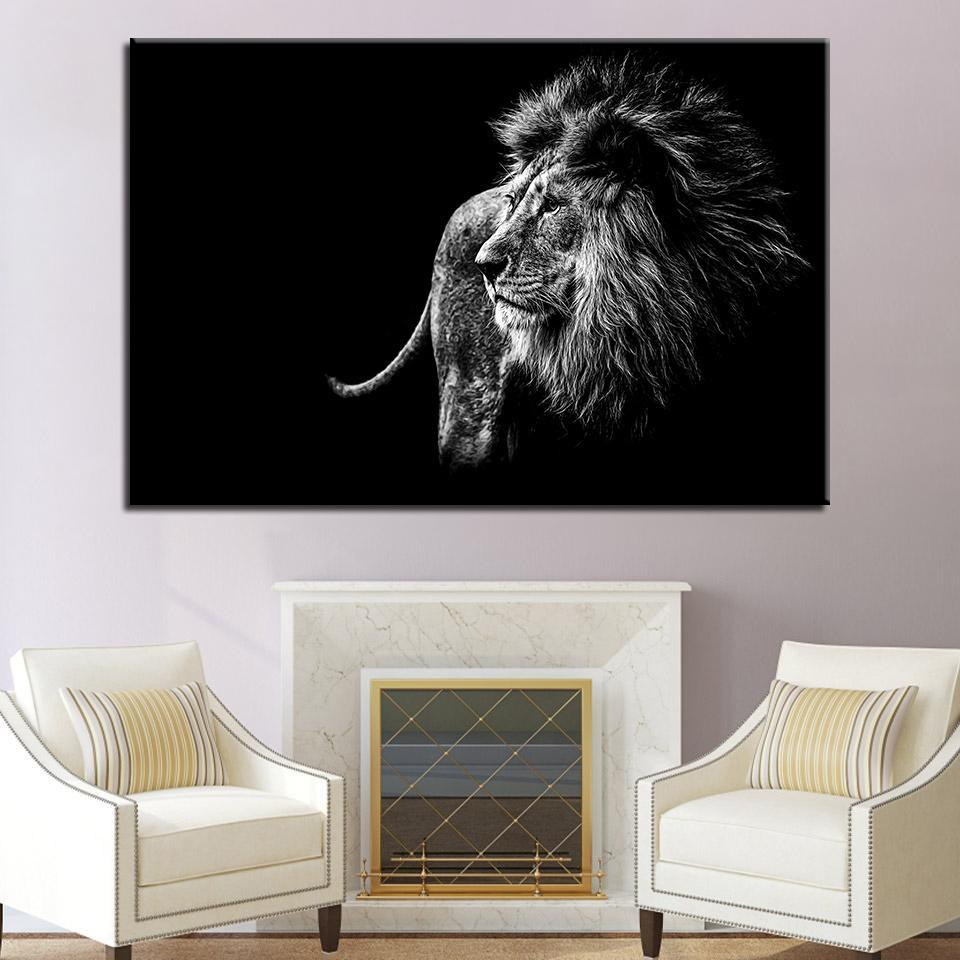New Day Stock Store Canvas Paintings Medium / 1 Piece / Framed Black and White Lion Multi Panel Canvas Set