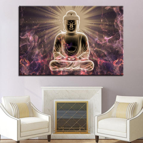 New Day Stock Store Canvas Paintings Medium / 1 Piece / Framed Buddha Meditation Multi Panel Canvas Set