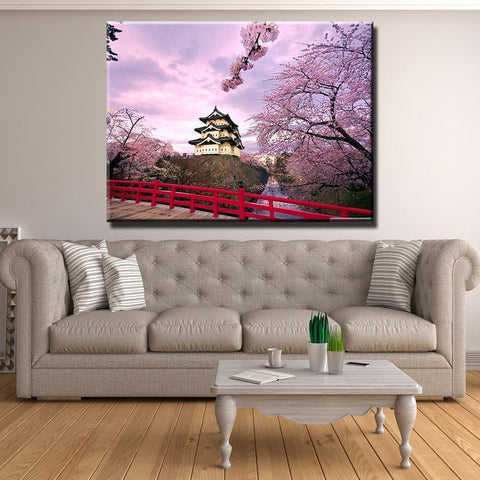 Image of New Day Stock Store Canvas Paintings Medium / 1 Piece / Framed Cherry Blossom Japan Canvas Set