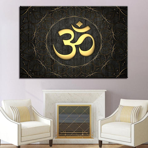 New Day Stock Store Canvas Paintings Medium / 1 Piece / Framed Gold OM Multi Panel Canvas Set