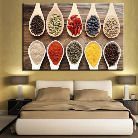 New Day Stock Store Canvas Paintings Medium / 1 Piece / Framed Spices Multi Panel Canvas Set