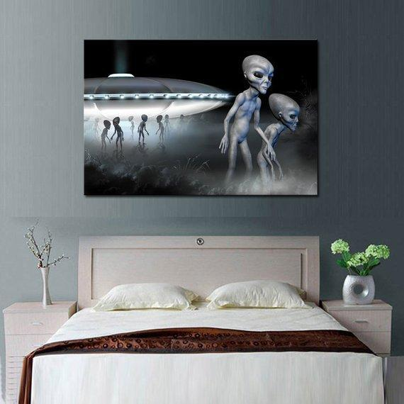 New Day Stock Store Canvas Paintings Medium / 1 Piece / No Frame Alien Space Ship Multi Piece Canvas Set
