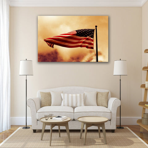 New Day Stock Store Canvas Paintings Medium / 1 Piece / No Frame American Flag Waving In The Wind Multi Panel Canvas Set