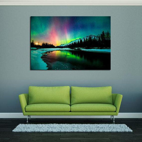 New Day Stock Store Canvas Paintings Medium / 1 Piece / No Frame Aurora Borealis Lake Multi Piece Canvas Set