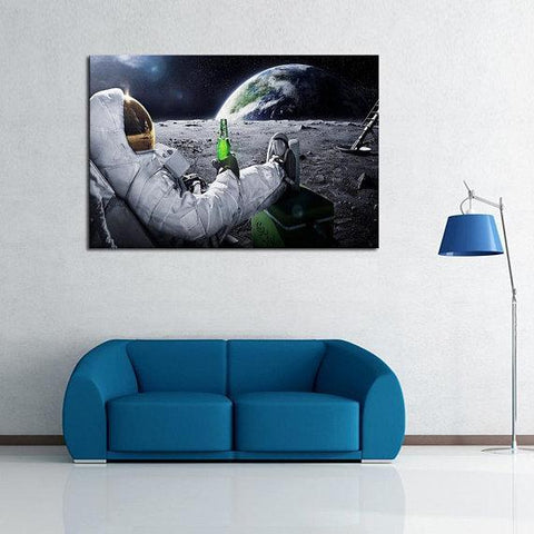 New Day Stock Store Canvas Paintings Medium / 1 Piece / No Frame Beer Drinking Astronaut Multi Piece Canvas Set