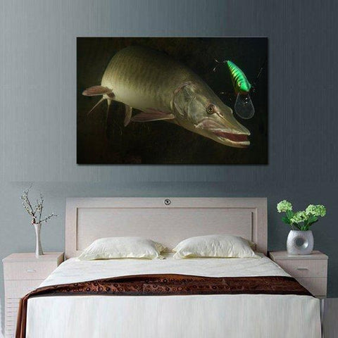 New Day Stock Store Canvas Paintings Medium / 1 Piece / No Frame Big Muskie Fishing Multi Panel Canvas Set