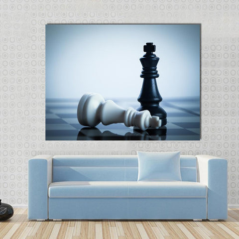 New Day Stock Store Canvas Paintings Medium / 1 Piece / No Frame Black Chess Defeats White King Multi Piece Canvas Set