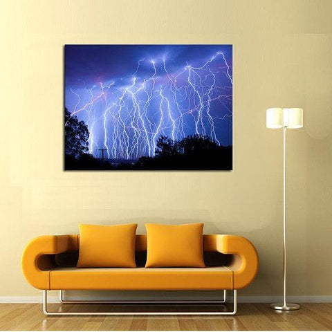 Image of New Day Stock Store Canvas Paintings Medium / 1 Piece / No Frame Blue Lightning Multi Piece Canvas Set