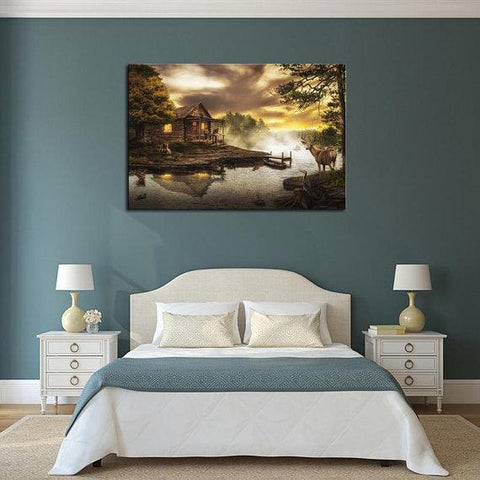 New Day Stock Store Canvas Paintings Medium / 1 Piece / No Frame Cabin By the Lake Multi Piece Canvas Set
