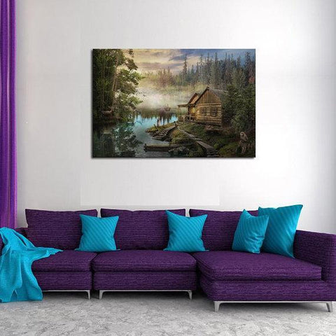 New Day Stock Store Canvas Paintings Medium / 1 Piece / No Frame Cabin On the Lake Multi Piece Canvas Set