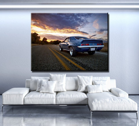Image of New Day Stock Store Canvas Paintings Medium / 1 Piece / No Frame Camaro SS Car Sunset Multi Panel Canvas Set