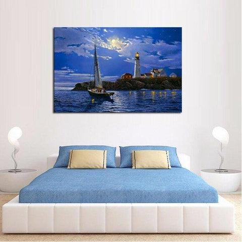 Image of Clear Sailing Lighthouse Multi Panel Canvas Set - newdaystock