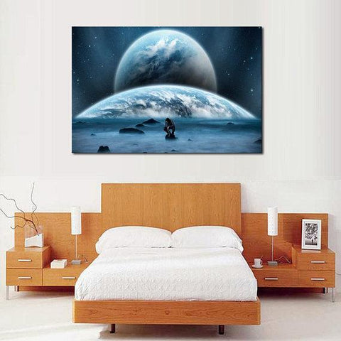 Image of New Day Stock Store Canvas Paintings Medium / 1 Piece / No Frame Earth Man Galaxy Multi Piece Canvas Set