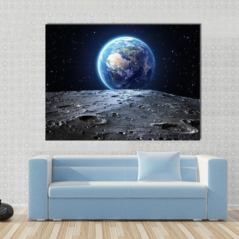 Image of New Day Stock Store Canvas Paintings Medium / 1 Piece / No Frame Earth View From Asteroid In Space Multi Panel Canvas Set