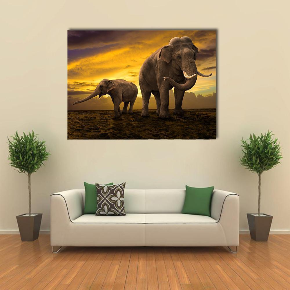 New Day Stock Store Canvas Paintings Medium / 1 Piece / No Frame Elephants Family On Sunset Multi Piece Canvas Set
