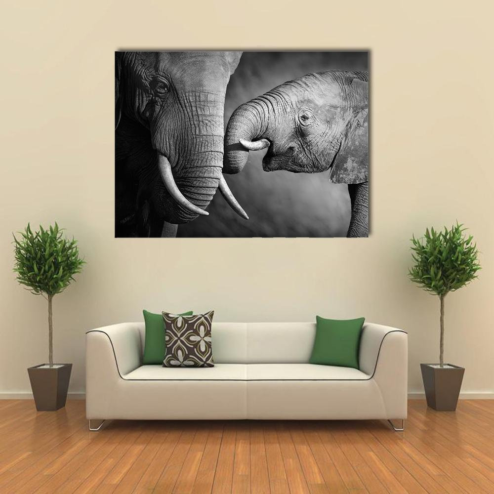 New Day Stock Store Canvas Paintings Medium / 1 Piece / No Frame Elephants Showing Affection Multi Piece Canvas Set