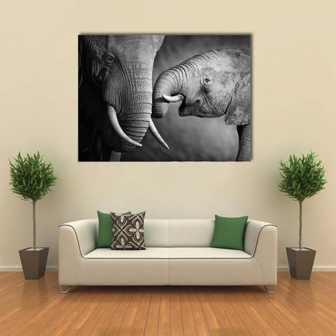 Image of New Day Stock Store Canvas Paintings Medium / 1 Piece / No Frame Elephants Showing Affection Multi Piece Canvas Set