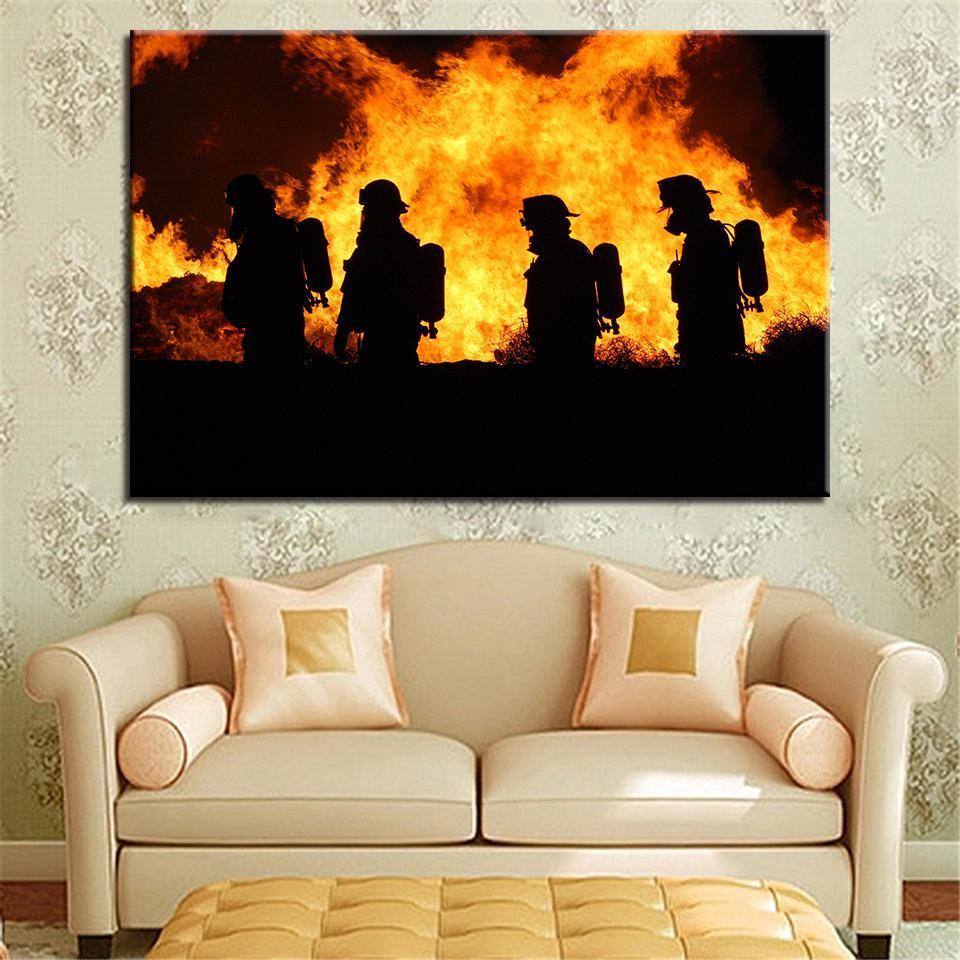 New Day Stock Store Canvas Paintings Medium / 1 Piece / No Frame Firefighters in Action Multi Piece Canvas Set