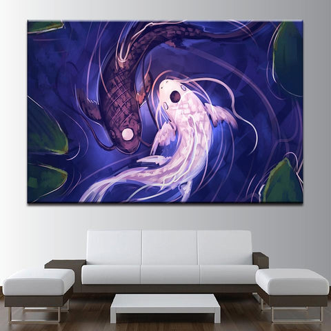 New Day Stock Store Canvas Paintings Medium / 1 Piece / No Frame Fish Koi Yin Yang Multi Panel Canvas Set