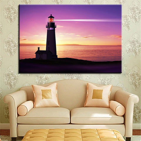 New Day Stock Store Canvas Paintings Medium / 1 Piece / No Frame Lighthouse At Sunset Multi Piece Canvas Set