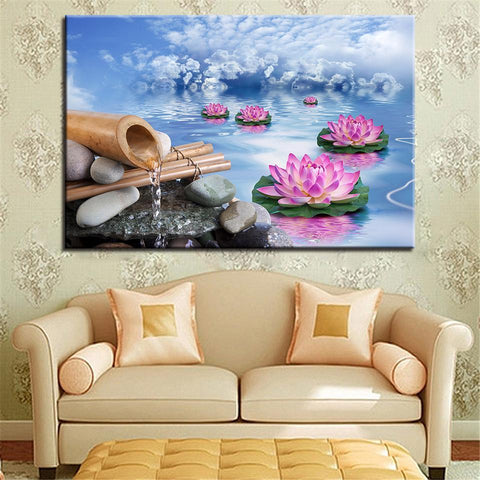 New Day Stock Store Canvas Paintings Medium / 1 Piece / No Frame Lotus Calmness Flower Multi Panel Canvas Set