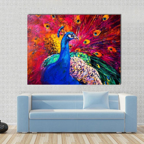 Image of New Day Stock Store Canvas Paintings Medium / 1 Piece / No Frame Multicolored Peacock Multi Piece Canvas Set