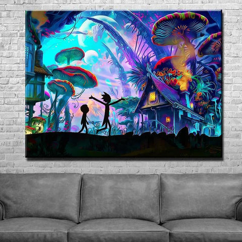New Day Stock Store Canvas Paintings Medium / 1 Piece / No Frame Mushroom World Rick and Morty Multi Piece Canvas Set