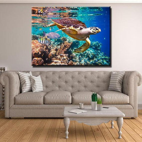Image of New Day Stock Store Canvas Paintings Medium / 1 Piece / No Frame Ocean Turtle Multi Piece Canvas Set