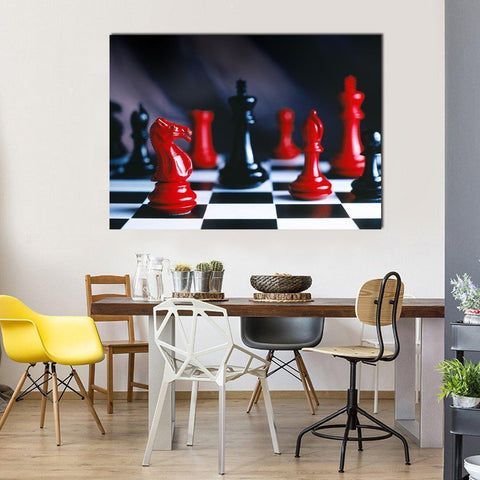 New Day Stock Store Canvas Paintings Medium / 1 Piece / No Frame Red And Black Chess Multi Piece Canvas Set