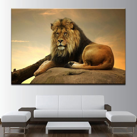 Image of New Day Stock Store Canvas Paintings Medium / 1 Piece / No Frame Resting Lion Multi Panel Canvas Set
